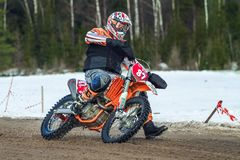 Latvia, Raiskums, Winter motocross, Skioring, Drivers with motor Stock Photography
