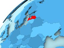 Latvia on blue globe. Latvia in red on blue model of political globe. 3D illustration Stock Photo