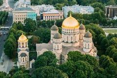 latvia riga Городской пейзаж Риги Взгляд сверху рождества Риги собора Христоса - известной церков Стоковое Изображение RF