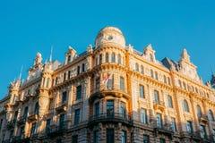 latvia riga Здание Nouveau искусства конструированное Mikhail Эйзенштеином на улице 13 Альберта, в настоящее время расквартировыв Стоковое Фото