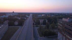 latvia riga 20-ое июля 2018 Воздушный взгляд захода солнца над Ригой сток-видео