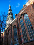 Latvia Riga City's historical center - Unesco world heritage site Saint Peter's Church Royalty Free Stock Photos