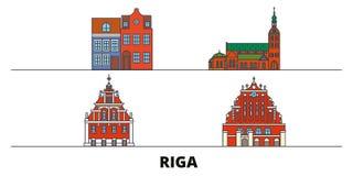 Latvia, Riga flat landmarks vector illustration. Latvia, Riga line city with famous travel sights, skyline, design. Latvia, Riga flat landmarks vector vector illustration