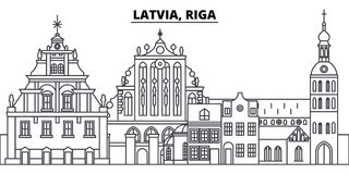 Latvia, Riga line skyline vector illustration. Latvia, Riga linear cityscape with famous landmarks, city sights, vector royalty free illustration
