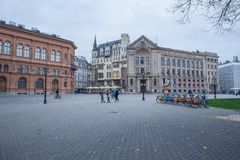 Latvia, Riga, old town center, peoples and architecture. 2017 Stock Photography