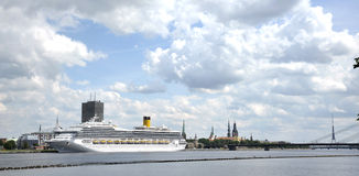 Latvia, Riga, port, liner. A kind to old Riga Royalty Free Stock Images