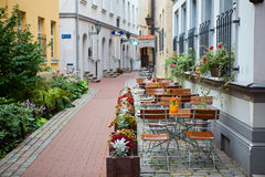Latvia, Riga, street cafe Stock Photography