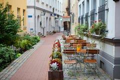 Latvia, Riga, street cafe Stock Photography