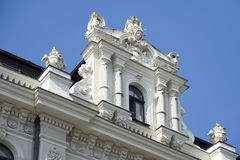 Latvia, Riga. Superstructure on a house roof in the form of juge. Europe, Latvia, Riga. Superstructure on a house roof in the form of jugendstil Stock Image