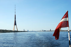 Latvia, Riga. Television tower against a panorama of Riga Royalty Free Stock Images