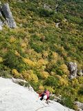 Latvia route on Uarch-Kaya mountain, Crimea. Stock Photo