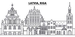 Latvia, Ryska kreskowa linia horyzontu wektoru ilustracja Latvia, Ryski liniowy pejzaż miejski z sławnymi punktami zwrotnymi, mia royalty ilustracja