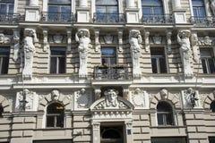 Latvia, Ryski Dekoracja fasada buildi Zdjęcie Stock