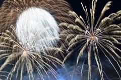 Latvia`s 100th anniversary - 18th November 2018. Fireworks on dark background in Riga, the capital city of Latvia stock photos
