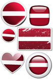 Latvia - Set of stickers and buttons. Glossy and colorful stickers with reflection set Stock Images