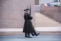 Latvia: strażnicy na wolność zabytku Ryski Obraz Royalty Free