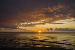 Latvia. Summer. The Gulf of Riga. Sunset before the storm. Royalty Free Stock Photo