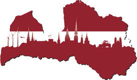 Latvia symbols of business and history of state Stock Photo