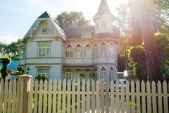 Latvia tall house made of wood. Jurmala, Latvia wooden big house hotel Royalty Free Stock Photography