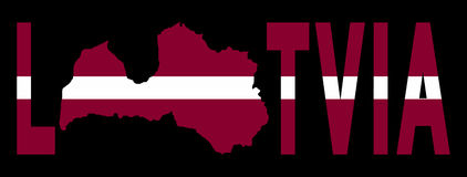 Latvia text with map Stock Image