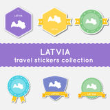 Latvia travel stickers collection. Royalty Free Stock Images