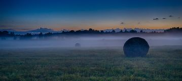 Evening fog in european field. Latvia vidzeme landscape at sunset with fog and mist Royalty Free Stock Image