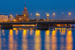 Latvian akademia nauki przy nocą, Ryska zdjęcie royalty free