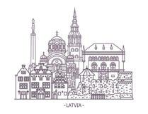 Latvian architektura budynki ilustracja wektor
