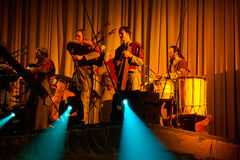 Latvian Bagpipes and drum music group Auli Stock Photos