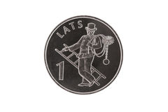 The Latvian coin with chimney sweep. Rare Latvian coin with chimney sweep Royalty Free Stock Photo