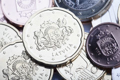 Latvian euro coins. Stock Photos