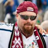 Latvian Fan near Minsk Arena Royalty Free Stock Photo