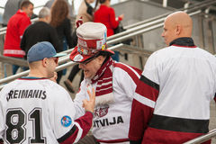 Latvian Fans in Front of Minsk Arena Royalty Free Stock Images