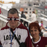 Latvian Fans near Minsk Arena Stock Photography