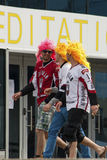 Latvian Fans near Minsk Arena Stock Images