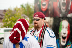 Latvian Fans near Minsk Arena Royalty Free Stock Photos