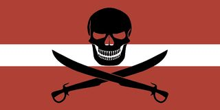 Pirate flag combined with Latvian flag. Latvian flag combined with the black pirate image of Jolly Roger with cutlasses Royalty Free Stock Photography
