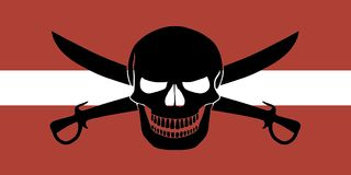 Pirate flag combined with Latvian flag. Latvian flag combined with the black pirate image of Jolly Roger with cutlasses Royalty Free Stock Photos