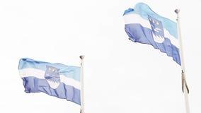 Latvian flag and emblem of Jurmala Stock Images