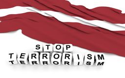 Latvian flag and text stop terrorism. Royalty Free Stock Image
