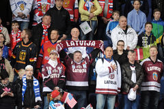 Latvian Ice hockey fans. In Helsinki, Hartwall arena Stock Image