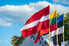 Free Latvian, Lithuanian And Estonian Flags Waving Together, Latvia, Lithuania, Estonia, Baltic Countries Stock Images - 162529124
