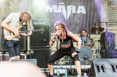 Latvian metal band Māra performing at Metalshow Open Air festival stock photos
