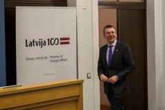 Latvian minister Cudzoziemski - sprawy Edgars Rinkevics zdjęcia stock
