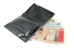 Latvian money in the wallet. Latvian money in the black leather wallet Royalty Free Stock Photos