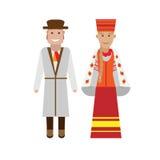 Latvian national dress. Illustration of national costume on white background Royalty Free Stock Photos