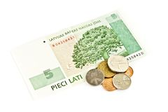 Latvian national five- lats banknotes Royalty Free Stock Images