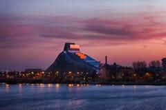 Latvian National Library construction in Riga, Latvia Stock Photo