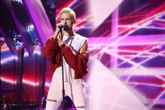 Latvian pop singer Markus Riva performs during the 25th Slavyansky Bazar Festival Royalty Free Stock Photography