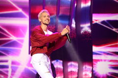 Latvian pop singer Markus Riva performs during the 25th Slavyansky Bazar Festival Stock Photos